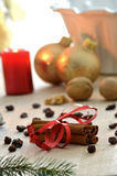 Cinnamon and Christmas decoration Stock Photo