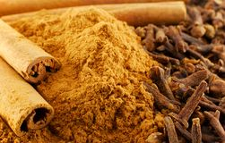 Cinnamon and clove. Macro of cinnamon and clove (spice, herb Royalty Free Stock Image