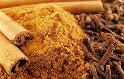 Cinnamon and clove. Macro of cinnamon and clove (spice, herb royalty free stock image