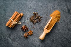 Cinnamon, clove and anise star. Royalty Free Stock Image