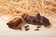 Cinnamon, clove and chocolate Stock Image