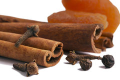 Cinnamon, clove and dried apricot. Royalty Free Stock Photo
