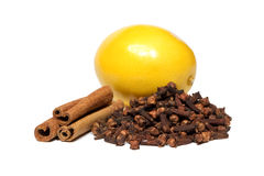 Cinnamon, clove and lemon Stock Photo