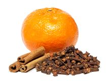 Cinnamon, clove and tangerine Stock Photo