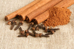 Cinnamon and cloves Stock Photography