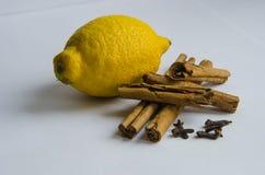 Cinnamon cloves and lemon Royalty Free Stock Photos