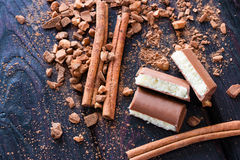 Cinnamon, cocoa and aerated chocolate Royalty Free Stock Photography