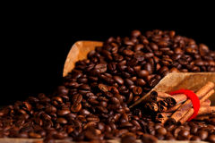 Cinnamon and coffe beans Stock Photo