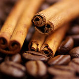 Cinnamon and coffee beans Royalty Free Stock Image