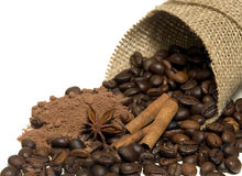 Cinnamon, coffee beans, cocoa Stock Photo