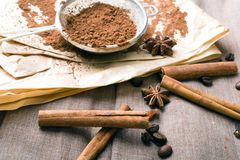 Cinnamon, coffee beans, cocoa and anise Stock Photography