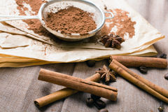 Cinnamon, coffee beans, cocoa and anise Royalty Free Stock Photography