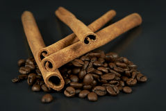 Cinnamon and coffee beans Stock Photo