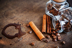 Cinnamon with coffee beans and hot chocolate blot Stock Photo
