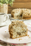Cinnamon coffee cake. Homemade cinnamon streusel coffee cake Royalty Free Stock Images