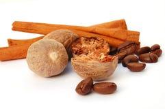 Cinnamon, coffee and nutmeg Royalty Free Stock Photography