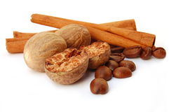 Cinnamon coffee and nutmeg Royalty Free Stock Images