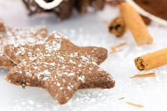 Cinnamon cookies with cocoa and orange zest royalty free stock photography