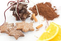 Cinnamon cookies with cocoa and orange zest Stock Images