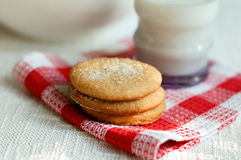Cinnamon cookies with milk Royalty Free Stock Image