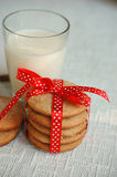 Cinnamon cookies with milk Royalty Free Stock Photography