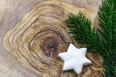 Cinnamon cookies and pine branches Stock Images