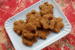 Cinnamon cookies with raisins Stock Photos