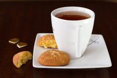 Cinnamon cookies with tea Royalty Free Stock Image