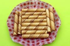 Cinnamon cream pie on plate Stock Photos