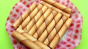 Cinnamon cream pie on plate Royalty Free Stock Image