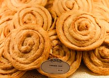 Cinnamon Crisps for sale in bakery case Royalty Free Stock Photo