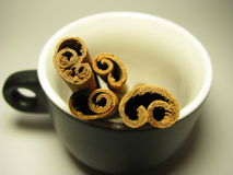 Cinnamon in a cup Royalty Free Stock Photo
