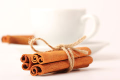 Cinnamon, cup with white background series  Royalty Free Stock Image