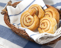 Cinnamon danish bun in the basket Royalty Free Stock Images