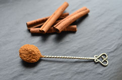 Cinnamon on a dark backround Royalty Free Stock Image