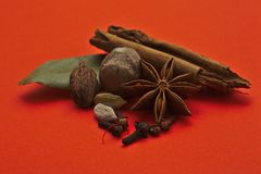 Spices on a red background stock photography