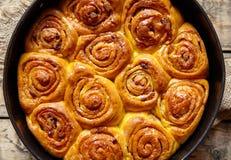 Cinnamon dough bun rolls traditional Danish baked vegan sweet autumn cake Royalty Free Stock Photography