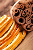 Cinnamon and dried Orange Royalty Free Stock Image