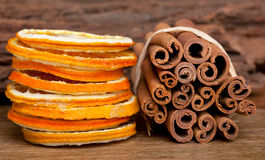 Cinnamon and dried Orange Stock Image