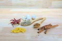 Cinnamon, Dried peppers, Coriander seeds, white pepper, Macaroni Pasta Royalty Free Stock Image