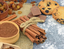 Cinnamon and festive baking ingredients. close-up . New Year. Ch Royalty Free Stock Photo