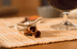 Cinnamon in the form of heart. On the wooden table Stock Photography