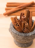 Cinnamon fragrant strike to food dishes, desserts and drinks. To Royalty Free Stock Images