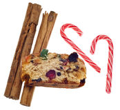 Cinnamon Fruit Cake and Candy Cane Candies Stock Photo