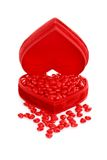 Cinnamon hearts in a red heart box Royalty Free Stock Photo