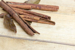 Cinnamon and herb sticks on  wooden Stock Images