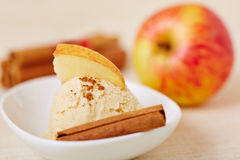 Cinnamon ice cream with apple for christmas Royalty Free Stock Photos