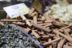 Cinnamon on Istambul market. The close-up of cinnamon on Istambul market Royalty Free Stock Image