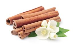Cinnamon with jasmin flowers Royalty Free Stock Photos