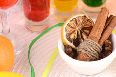 Cinnamon, lemon and fruits Royalty Free Stock Images